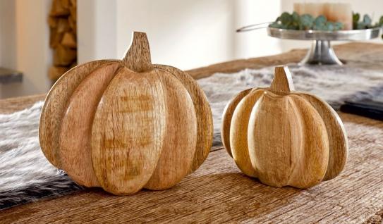 2x Kürbis aus Mango Holz natur, 15 + 20 cm hoch, Halloween Herbst Erntedank Deko