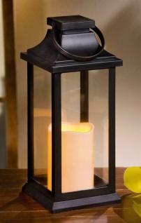 """LED Laterne """" Klassik"""" 30 cm hoch, Deko Metall Wind Licht mit Glas, Henkel & Dach"""