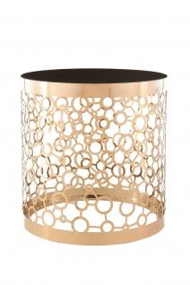 """Design Beistell Tisch """" Pabla 210"""" aus Edelstahl, gold mit Glas Platte schwarz 2W"""