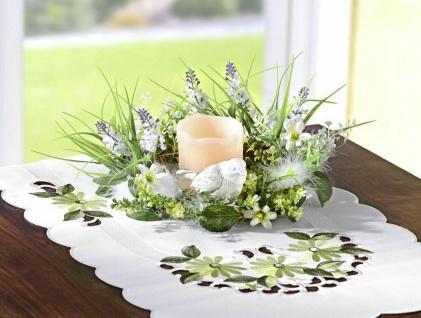 Tisch Kranz mit Echt Wachs LED Kerze, Blumen Gräser Blätter Federn & Deko Vogel