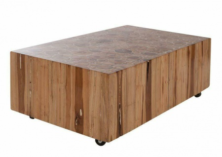 SIT Couchtisch ROMANTEAKA 110x60 recyceltes Teak Holz auf Rollen Beistell Tisch
