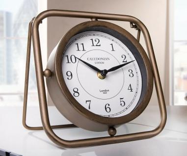 """Metall Tisch Uhr """" Station"""" bronzefarben Vintage Analog Industrial Retro Design"""