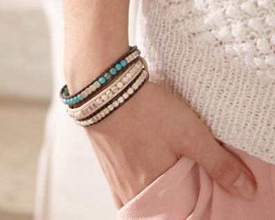 3er Set Armband 'Dark? Damen Schmuck Steine Perlen Armkette Häkelband
