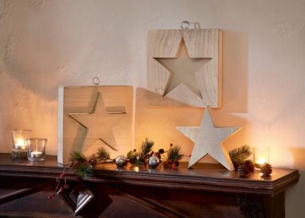 2tlg Hänger 'Stern in Stern? Holz Wand Deko Schmuck Weihnachten Weihnachtsdeko