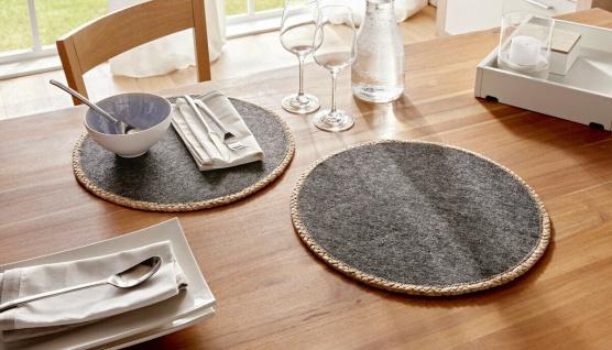 """2 er Set Platz Matten """" Trend"""" grau, rund, Filz & Wasserhyazinthe, Tisch Deckchen"""