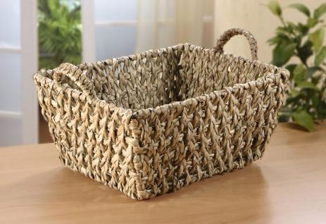 Füllkorb aus Schilfgras mit Griffen, Obst Brot Geschenk Aufbewahrungs Regal Korb