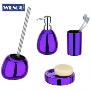 4tlg WENKO Bad Set POLARIS aus Keramik lila metallic WC Garnitur Seifenspender