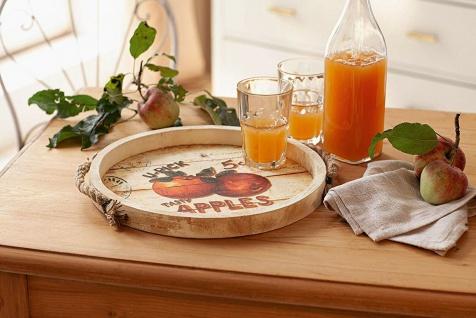 """Servier Tablett """" Apples"""" aus Holz im Retro Style, Ø 34 cm, mit Trage Griffen"""