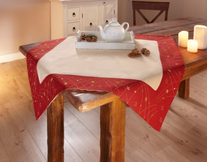 Tischdecke 'Weihnachtssterne? 85x85 cm Tisch Deko Band Läufer Weihnachten Sterne
