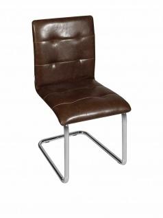 UNICO 2er Set Freischwinger Stühle, PU Leder braun, Küchen Esszimmer Stuhl