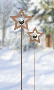 """2 Metall Garten Stecker """" Stern"""" Rost Optik Blumen Beet Sticker Deko Weihnachten"""