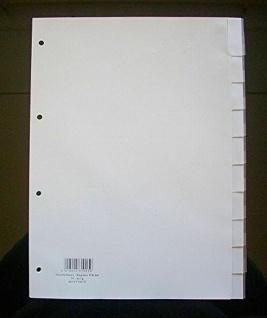 40x Hetzel Kunststoff Register A4 10 tlg. grau, Blanko Trennblätter