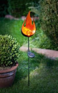 Solar LED Stecker 'Flamme? aus Metall, Garten Deko Lampe Strahler Beet Sticker