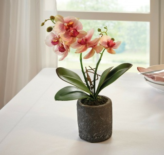 Orchidee im Topf, 32 cm hoch, Kunst Pflanze Büro Zier Kunststoff Blume