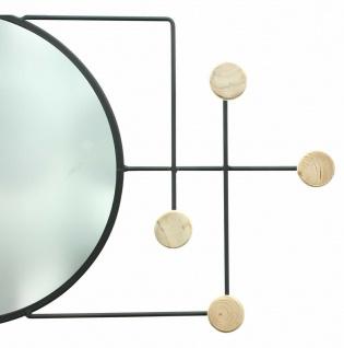 Metall & Holz Garderobe mit Spiegel, 4 Haken, modern, Flur Wand Kleider Halter - Vorschau 3