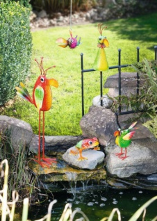 FIGUR Crazy Bird klein METALL bunt VOGEL TIERFIGUR GARTEN TEICH DEKORATION NEU