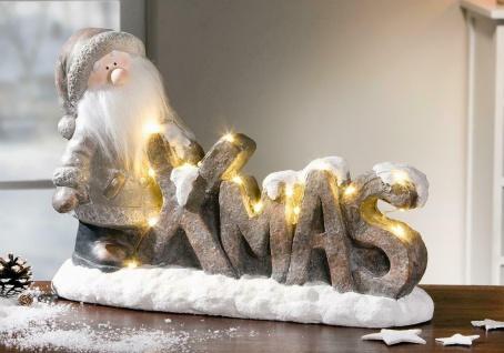 "LED Santa Claus Figur "" XMAS"" 37x14x25 cm Deko Weihnachtsmann Nikolaus Christkind"