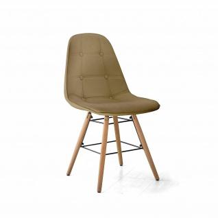 TUONI 2er Set Design Stühle PATTY, PU Leder cappucino, Küchen Esszimmer Stuhl