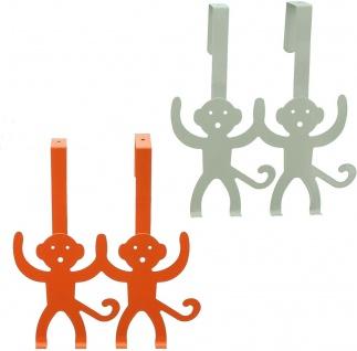 """2x Türhaken """" Affen"""" grau + orange, Tür Garderobe Kleider Halter Handtuch Haken - Vorschau 2"""