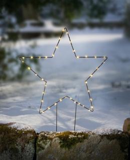 """LED Garten Stecker """" Stern"""" Metall, 75 cm hoch, beleuchtet, Blumen Deko Sticker"""
