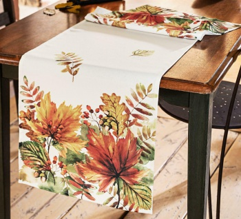 Tischläufer Herbst Blätter Muster 40x140 cm, Deko Tisch Band Tuch Mittel Decke