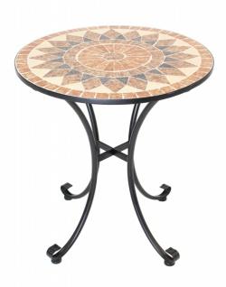Garten Tisch mit Stein Mosaik, Ø 70 cm, Metall schwarz, Balkon Terrasse Beistell
