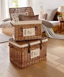 2er Set Universal Aufbewahrungs Truhen aus Weide, Wäsche Schatz Kiste Truhe Box