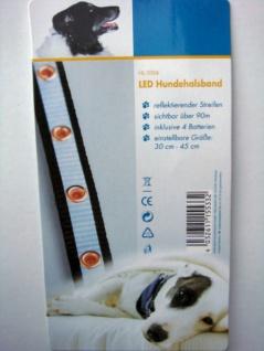 LED HUNDEHALSBAND verstellbar von 30 - 45 cm LEUCHTHALSBAND HUNDE HALSBAND