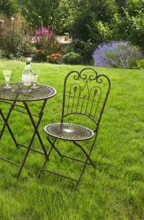 """Metall Klappstuhl """" Provence"""" im Antik Design Nostalgie Eisen Garten Balkon Stuhl - Vorschau 1"""