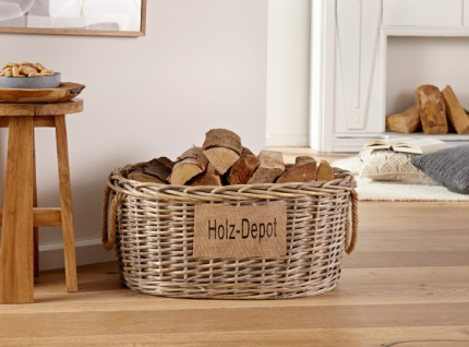 2er Aufbewahrungskorb 'Holz-Depot? aus Weide in Shabby-Look Korb Kiste Box Deko