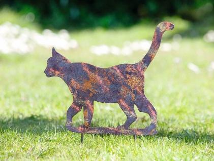 """Gartenstecker """" Katze"""" aus Metall, mit Patina, Garten Deko Sticker Vogelschreck"""