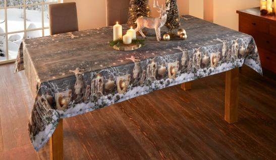 """Tafel Decke """" Winterzeit"""" 140x240 cm grau mit Winter Motiv, Advents Tisch Tuch"""