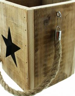 Windlicht Laterne Upcycling Holz & Glas 19 cm hoch Deko Shabby Vintage Teelicht - Vorschau 3