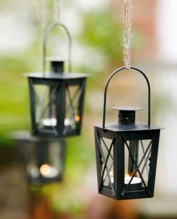 2er Set Mini Laternen aus Metall + Glas, schwarz, Teelicht Halter Windlicht - Vorschau 1