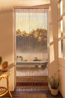Tür Vorhang aus Bambus & Holz, 90x200, Faden Balkon Tür Insekten Schutz Gardine