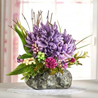 """Blumen Gesteck """" Chrysanthemen"""" 28 cm hoch Sommer Kunst Zier Blüten Deko Strauß"""