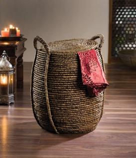 """Wäsche Korb """" Oriental Heat"""" Seegras & Bambus mit Deckel, Sammler Sortierer Truhe"""