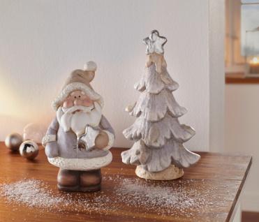 2er Winterdeko Santa & Tanne Terracotta Weihnachtsmann Weihnachtsdeko Nikolaus
