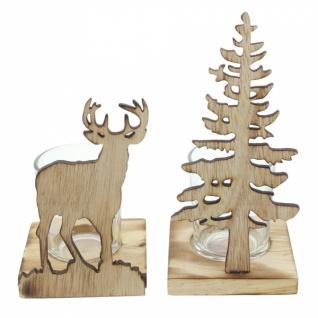 2er Teelicht Halter 'Tanne & Hirsch? Metall Kerzen Ständer Windlicht Weihnachten - Vorschau 2