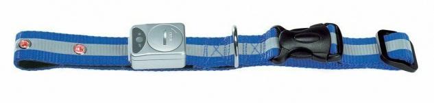 Hunter Nylon Hunde Leuchthalsband, blau, verstelllbar 35 - 45 cm LED Halsband