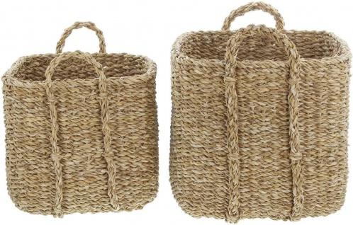 2x Aufbewahrungs Korb aus Seegras mit Griffen, Wäsche Spielzeug Kamin Holz Körbe - Vorschau 4