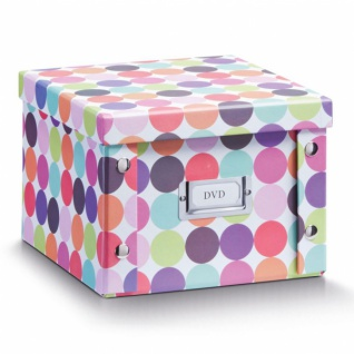 """2x Zeller Dvd Box Mit Deckel """" Dots"""" Für 26 Dvd's Aufbewahrung Kiste Karton Case - Vorschau"""