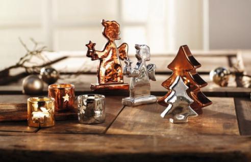 2er DEKO ENGEL 'Winterglanz' metallic PORZELLAN FIGUR WEIHNACHTEN WINTER NEU