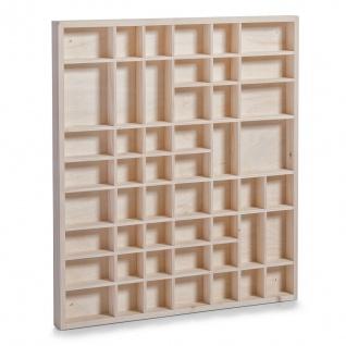 Zeller Setzkasten 51 Fächer aus Holz, 51x42 cm, Schaukasten Sammler Vitrine Box