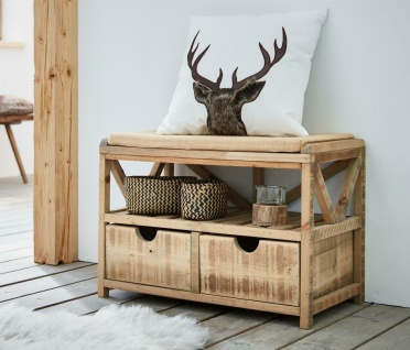 Holz Sitz Bank im Shabby Look mit Kissen + 2 Schubladen Flur Schuh Kommode Truhe