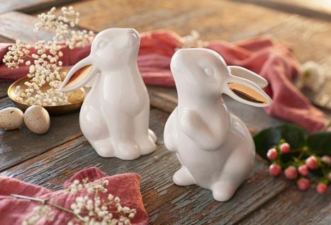 2 Hasen aus Porzellan, weiß / gold, 13 + 14 cm hoch, Oster Deko Tier Figur