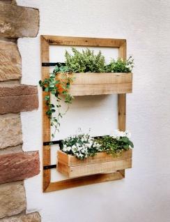 """Wand Pflanzer """" Industrial"""" aus Holz, mit 2 Blumen Pflanz Kästen, Regal Kasten"""