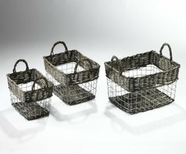 3er Korb Set aus Weide + Draht, Metall Deko Obst Brot Servier Füll Schale