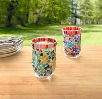 """Windlicht """" Regenbogen-mosaik"""" Glas Kerzenhalter Tischdeko Teelicht Mosaiksteine - Vorschau 3"""