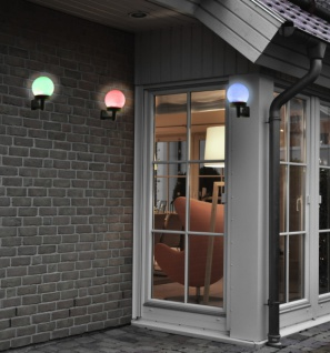3x SOLAR WANDLEUCHTE mit Farbwechsel AUSSEN WAND GARTEN BALKON LAMPE LEUCHTE